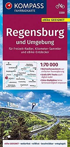 KOMPASS Fahrradkarte Regensburg und Umgebung 1:70.000, FK 3330: reiß- und wetterfest mit Extra Stadtplänen (KOMPASS-Fahrradkarten Deutschland, Band 3330)