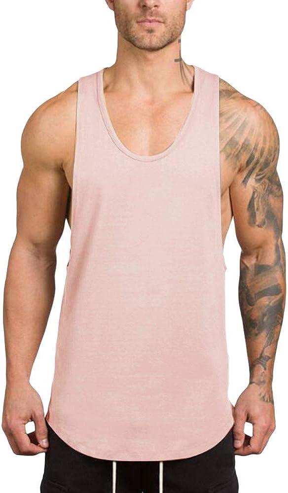 LEKODE Vest Men Solid O-Neck Tank Tops Fashion Fitness Cotton T-Shirt