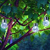 Sogrand Hanging Solar Lights Outdoor Decorations Home Decor Globe Light Ornaments Deal of The Day Prime Today Decorative Garden Lamp Pure White LED Crackle Glass Globes for Yard Patio Tree Party