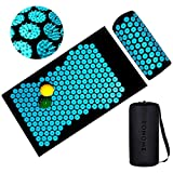 Spiny Pillow and Acupressure Mat Set, Acupuncture Cushion Massage Bed for Back Neck Pain Relief Full Body Feet Muscle Relaxation Stress Reliever, 2 Spiky Yoga Massage Balls + Carry Bag