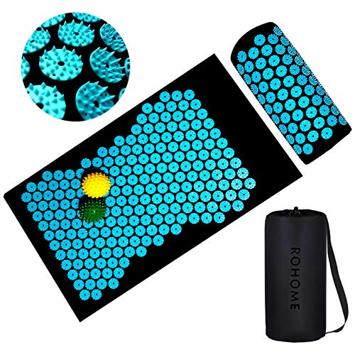 Spiny Pillow and Acupressure Mat Set Acupuncture Cushion Massage Bed for Back Neck Pain Relief Full Body Feet Muscle Relaxation Stress Reliever 2 Spiky Yoga Massage Balls  Carry Bag