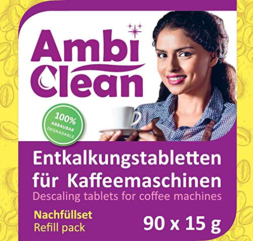 AmbiClean 100 pastiglie anticalcare per macchine da caffè, 90 Tabletten Nachfüllpack