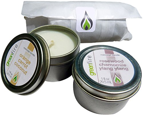 Greenfire All Natural Massage Oil Candles, Orange Carrot Coconut and Rosewood Chamomile Ylang Ylang Blends, Travel Size 1 Fluid Ounce, Set of 2 by Greenfire Candles for Massage