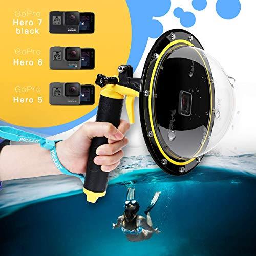 AFAITH Puerto de Domo para GoPro con Burbuja Agarre Flotante, Alojamiento Impermeable Buceo hasta 98 pies / 30 m para GoPro Hero 6/Hero 5, Hero 2018, GoPro Hero7 Black TM051