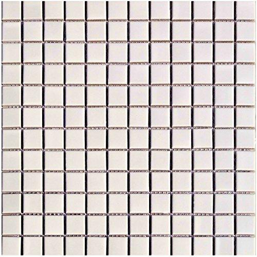 1rete mosaico in ceramica 2,5x 2,5cm Bianco Tinta Unita