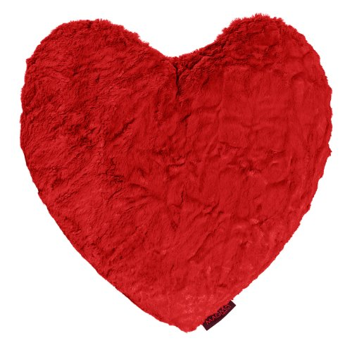 Fluffy Herzkissen ca.40x35 kuschelweicher Plüsch Herz in Felloptik rot