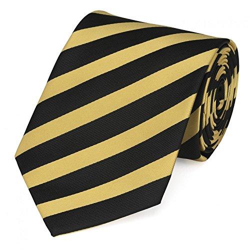 Fabio Farini - Elegante Herren Krawatte gestreift in 8cm Breite in verschiedenen Farben für jeden Anlass wie Hochzeit, Konfirmation, Abschlussball Schwarz Gelb