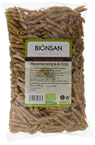 Bionsan Macarrón Integral de Trigo Ecológico - 6 Bolsas de 500 gr - Total : 3000 gr
