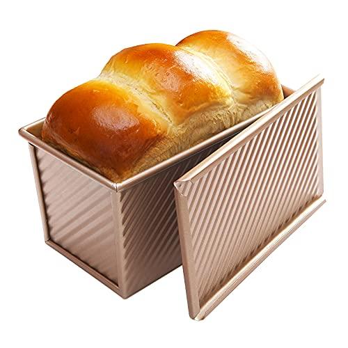 パン型 蓋付 ケーキ型 パン型 フタ付き 波紋型 パン焼 下部の通気孔 450g (21.5x12.3x11.4cm)