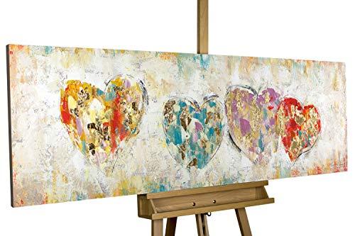 KunstLoft® Acryl Gemälde \'Color My Heart\' 150x50cm handgemalt Leinwand Bild