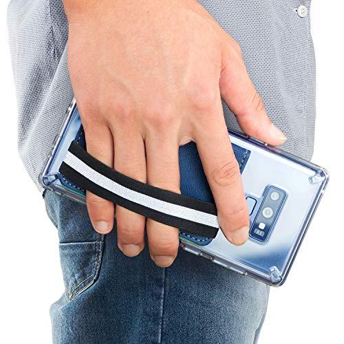 Ringke Móvil Porta Tarjetas, Faux Saffiano Leather con Correa de Mano Elástica [Azul Profundo] Tarjetero Adhesivo Bolsillo Multi-Card Slot Tarjeta de Crédito para iPhone, Galaxy, Xiaomi Accesorio