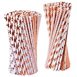 Tupa 200 Pieces Rose Gold Paper Straws Disposable Paper Drinking Straws Biodegradable Foil Rose Gold Striped and Solid Paper Straws for Party Wedding Celebrations Decorations, 4 Style (Rose Gold)