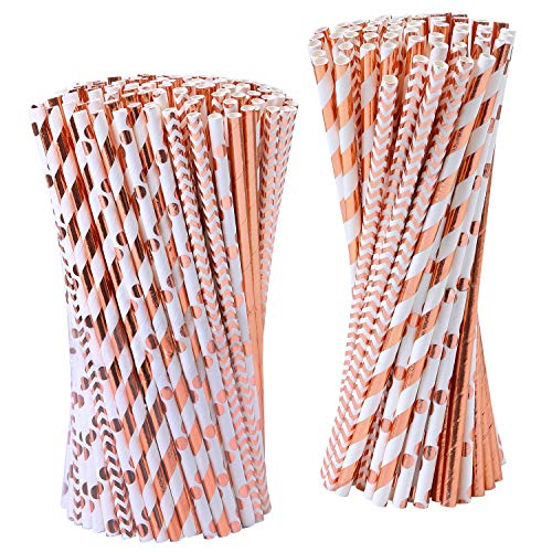 Tupa 200 Pezzi in Oro Rosa Cannucce di Carta USA e Getta Cannucce di Stagnola Biodegradabile Oro Rosa a Strisce e Paglie di Carta Piena per Feste di Nozze Celebrazioni Decorazioni, 4 Stile (Oro Rosa)