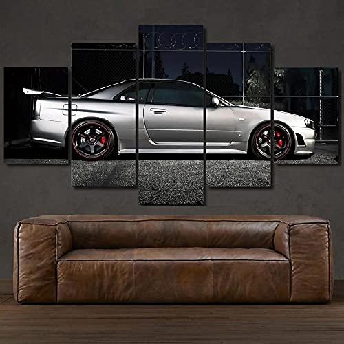KOPASD Arte de Pared 5 Piezas Coche Deportivo Blanco NISS GT-R R34 Impresión de Imagen en Lienzo para la Oficina Moderna Decoraciones hogar de la Imagen 20x35*2+20x45*2+20x55*1