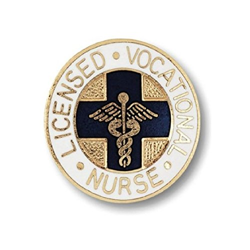 EMI Lincensed Vocational Nurse (LVN) Emblem Pin - Round (Blue Cross)