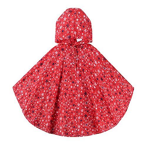 VORCOOL Filles Enfants Toddler Scolaire Sac à Dos Scolaire Ponchos de Pluie Veste Imperméables avec Capuche - Taille M (Rouge)