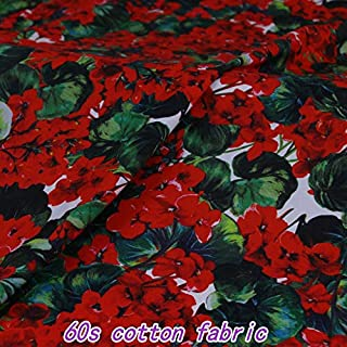Lace Fabric African   Red Geranium Flower Digital Print 60S Cotton Poplin Fabric for Kids Women Summer Dress Skirt Clothing Sewing DIY Tissus Au Metre   by ATUSY