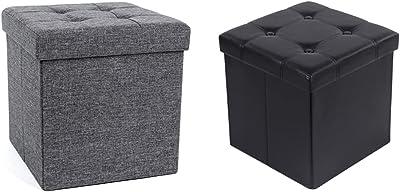 SONGMICS Tabouret avec Espace de Rangement, Capacité de Charge 300 kg, 40 L, gris foncé & Tabouret Pouf Coffre Boîte de Rangement Repose-Pied Cube Siège Pliable Gagner de l'espace Noir 38 x 38 x 38 cm