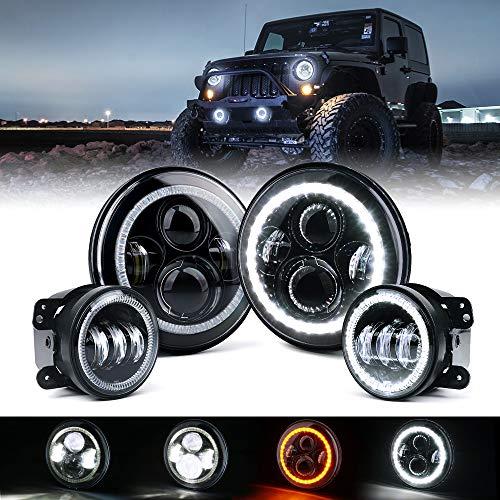 Xprite 7 inch 90W CREE LED Headlights & 4 inch 60W Fog Lights Combo w/White Halo Lights for 2007-2018 Jeep Wrangler JK