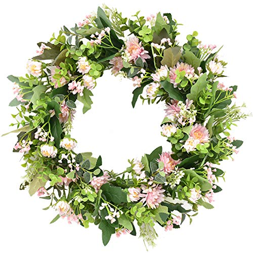 æ—  17.7inch Spring Door Floral Wreath Artificial Daisy Flower Wreath with Green Leaves Decorative Garland for Front Door Wall Wedding Party Home