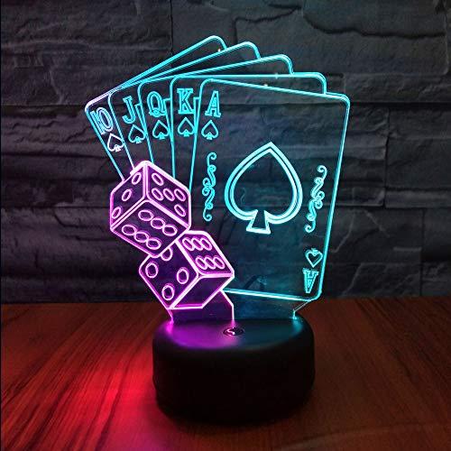 HIPIYA Poker Dice LED 3D Illusion USB Playing Card Lamp Mixed Color Night Light Festival Present Birthday Gift for Boy Boyfriend Men Fan Player Kid Bedroom Decoration Gambling Club Room Decor (Poker)