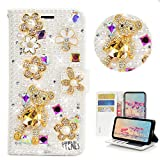 STENES Bling Wallet Phone Case Compatible with LG G4 - Stylish - 3D Handmade Floral Bear Glitter Design Flip Leather Cover Case - White
