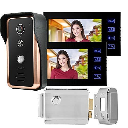 Xinwoer Control de Puerta RFID, videoportero de 2 monitores, cámara para Villas de(European Standard (100-240v))
