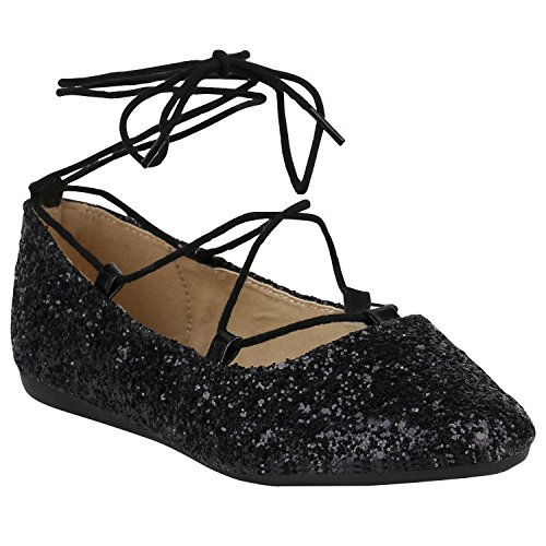 stiefelparadies Spitze Damen Ballerinas Pastell Flats Riemchen Cut-Outs Schuhe 155270 Schwarz Glitzer Cabanas 37 Flandell