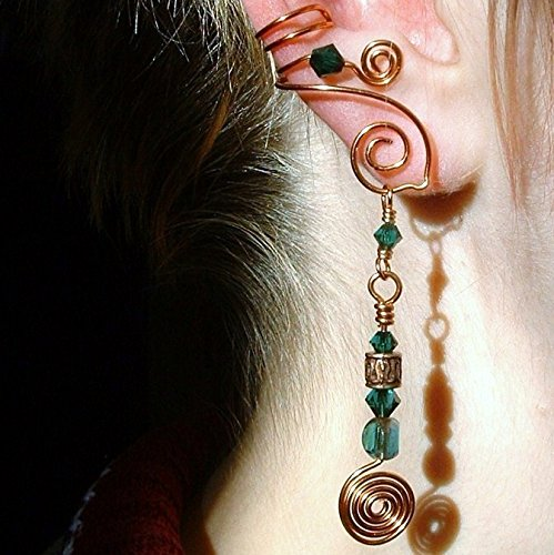 Celtic Spirals 2-in-1 Ear Cuff Emerald Green, No piercing required