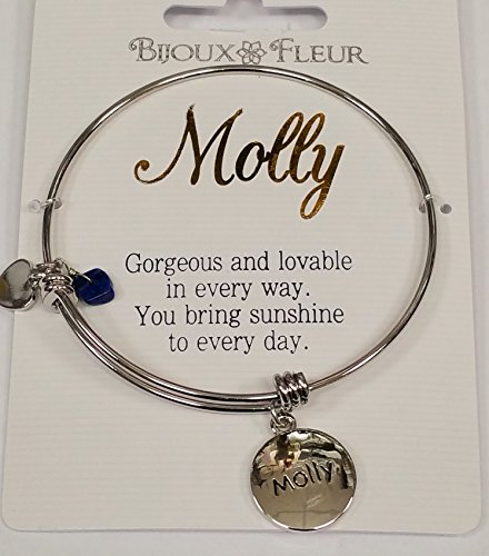 Molly Named Charm Bangle/Bracelet Presented Beautifully Sterling Effectz