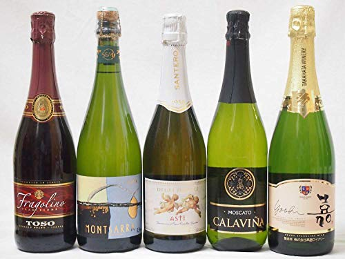 フルーツ甘口ワイン5本セット 嘉スパークリングスウィート マスカットオレンジ 甘口スパークリングワイン 750ml モンサラカバセミセック(スペイン)カラヴィニャモスカート(スペイン) 天使のアスティ(イタリア)トーゾフラゴリーノ750ml×5本