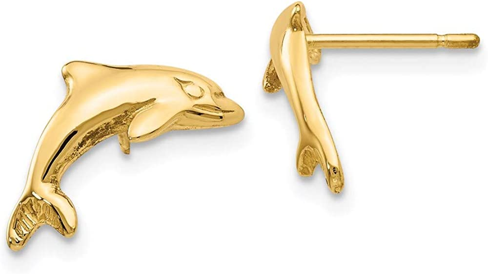 14k Yellow Gold Dolphin Post Stud Earrings Animal Sea Life Fine Jewelry For Women Gifts For Her