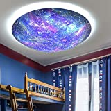 LAKIQ Beautiful Space Planet Modern LED Flush Mount Ceiling Light Fixture Universe Metal Glass Close to Ceiling Lighting for Boys and Girls Room Children's Bedroom(White Light)