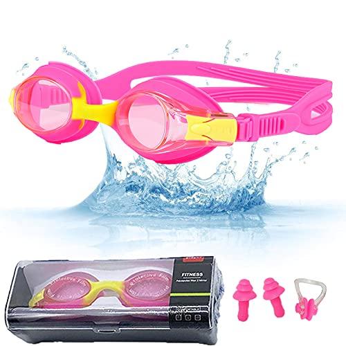 Taucherbrille Kinder, Schwimmbrille Kinder, Unisex Schwimmbrille - Geeignet Taucherbrille kinder 3 Jahre zu Taucherbrille Kinder 12 Jahre - Antibeschlag UV Schutz, Mit Ohrstöpsel & Nasenklammern