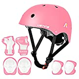 USTINE Kids Helmet Adjustable with Protective Gear Set Knee...