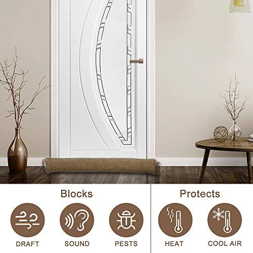 fowong Door Draft Stopper 36 Inch, Under Door Draft Blocker Noise Reducer Air Stopper Heavy Duty Door Bottom Insulation Sound Proof Cold Weather Door Snake Draft Blocker, Coffee
