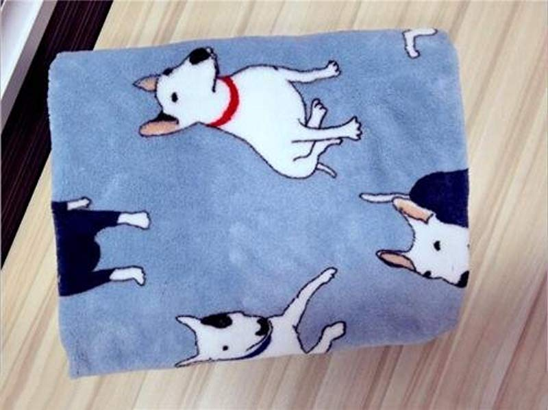 Warm And Cozy Baby Blanket With Bull Terrier Pattern Qualified Coral Velvet Nursery Blanket Perfect For Baby Use Blue Large