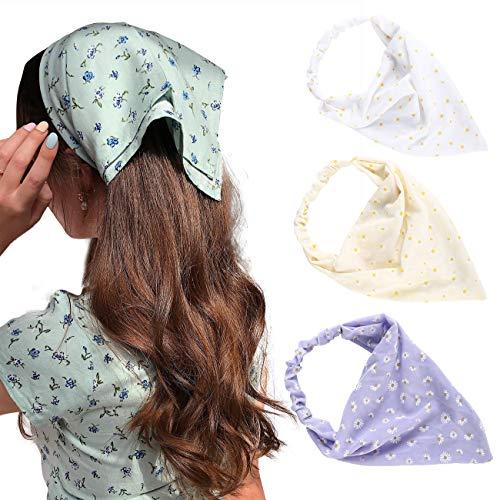 HAIMEIKANG 3 Pieces Floral Elastic Hair Scarf Headband Chiffon Head Kerchief Hairband Head Scarf Hair Bandanas with Hair Clips for Women (White+Yellow+Purple)