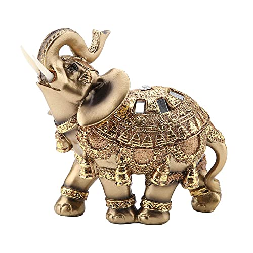 Golden Polyresin Elephant Statue Sculpture Trunk Wealth Lucky Collectible Figurine Gift Home Decor Feng Shui Ornament Elephant Decor Elephant Statue (Large)