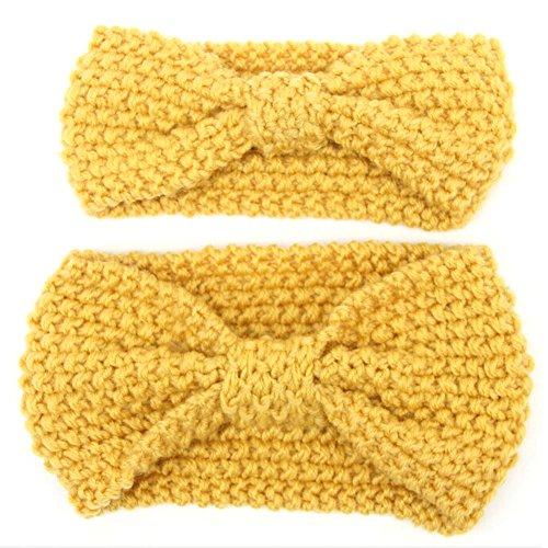 Fletion 2pcs Serre-Tête Bandeau Cheveux Parent-Enfant Bandeau Femme Turban Foulard Wrap Headwrap Crochet Tricoté Bandeau