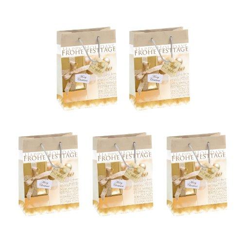 SIGEL GT017 Papier-Geschenktüten 23 x 17 cm, 5er Set, gold, Weihnachten - weitere Größen