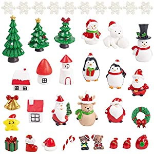 lovestown 38 pcs fairy garden christmas accessories christmas miniature ornaments diy snow globe figurines christmas decorations for christmas party