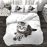 HHYT-YJ Juego de ropa de cama de 2/3 piezas, funda de almohada y funda de edredón con cremallera, suave microfibra, juego de cama (M2,155 x 220 cm + 2 x 80 x 80 cm)