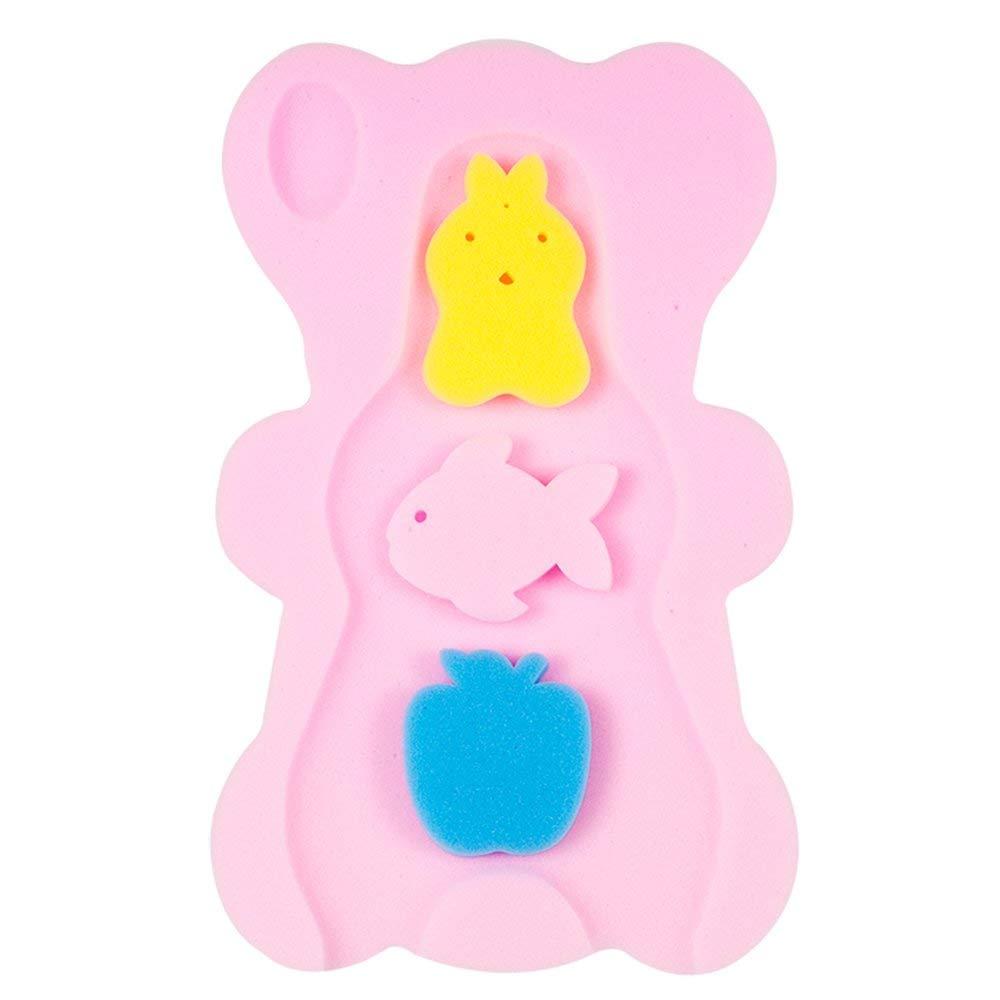 Baby Infant Bath Sponge Skid Proof Natural Soft Baby Bath Mat Newborn Bathing Cushion Pink