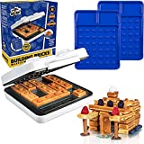 Building Brick Electric Waffle Maker with 2 Construction Eating Plates - Cook Fun, Buildable Waffles in Minutes - Revolutionize Breakfast, as seen on Kickstarter - Stack & Build on Serving Dishes