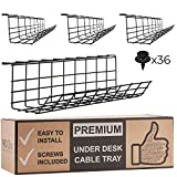 Under Desk Cable Management Tray - Cable Organizer for Wire Management. Metal Wire Cable Tray for Office and Home. Perfect Standing Desk Cable Management Tray (Black Cord Basket Set of 4X 17'')