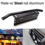 jeep liberty 2003 grill guard - iJDMTOY AA3117-Black Universal Fit Bull Style Black Painted Stainless Steel Front Bumper License Plate Mount Bracket Holder Compatible with Off-Road Work Lamps, LED Lighting Bar
