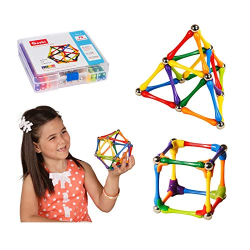 Goobi 70 Piece Construction Set Building Toy Active Play Sticks STEM Learning Creativity Imagination Children's 3D Puzzle Educational Brain Toys for Kids Boys and Girls with Instruction Booklet