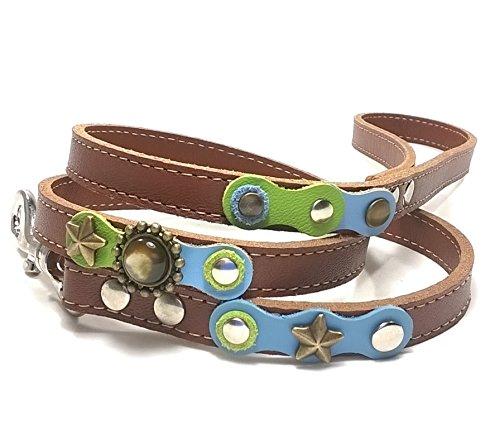 Superpipapo Leder Hundeleine in Style, Handmade Braun Design, 1m und 8 cm, (108 cm), Edel mit schönen Hellblau Grün Pastell Farbige und Elegante Steine