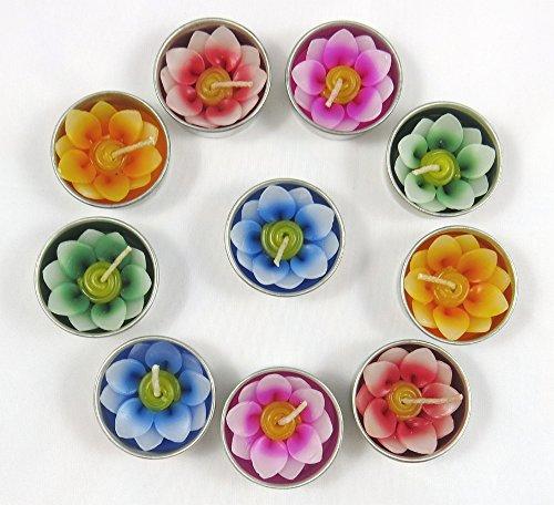 Merca Teelichter und Kerzenhalter Refills mit 10 Duftkerzen in Form Einer Lotus Blume
